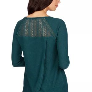 Lucky Brand Lace Thermal Long Sleeve Green Small